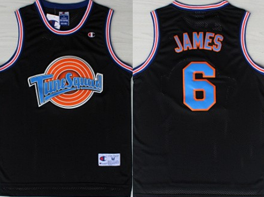 Tune Squad 6 James Black Stitched Movie Basketball Jersey