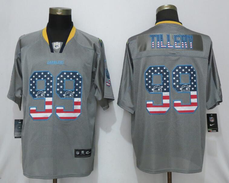 Nike Chargers 99 Jerry Tillery Gray USA Flag Fashion Elite Jersey