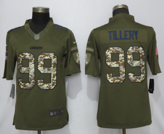 Nike Chargers 99 Jerry Tillery Olive Camo Salute to Service Limited Jersey