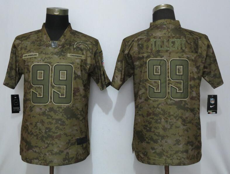 Nike Chargers 99 Jerry Tillery Camo Women Salute to Service Limited Jersey