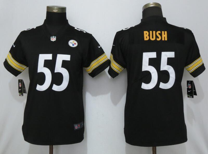 Nike Steelers 55 Devin Bush Black Women 2019 NFL Draft First Round Pick Vapor Untouchable Limited Jersey