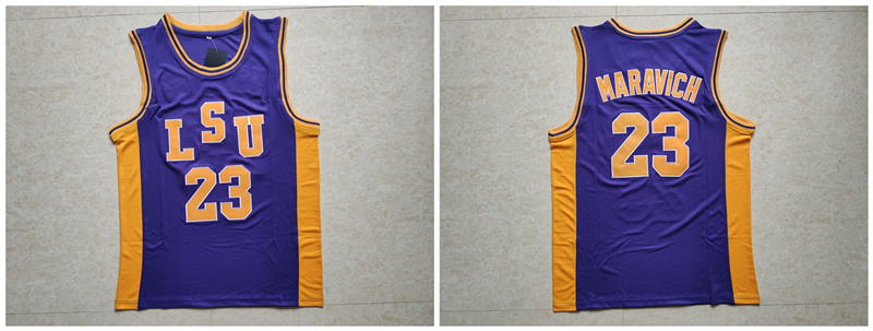 LSU Tigers 23 Pete Maravich Purple College Basketball Jersey