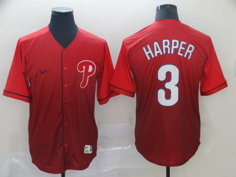 Phillies 3 Bryce Harper Red Drift Fashion Jersey