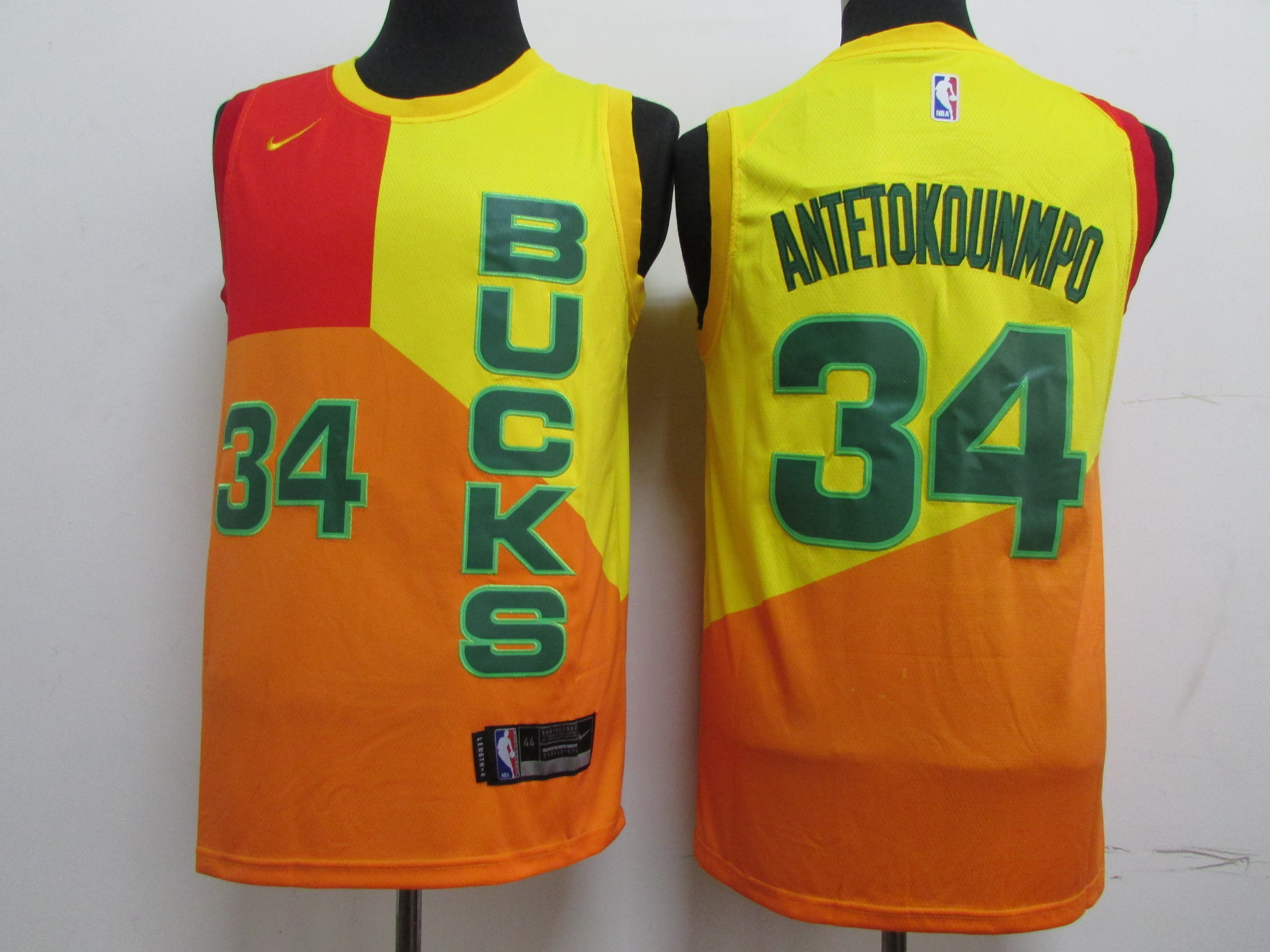 Bucks 34 Giannis Antetokounmpo Yellow 2018-19 City Edition Nike Swingman Jersey