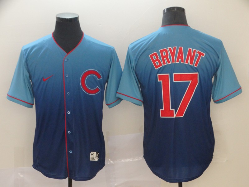 Cubs 17 Kris Bryant Blue Drift Fashion Jersey