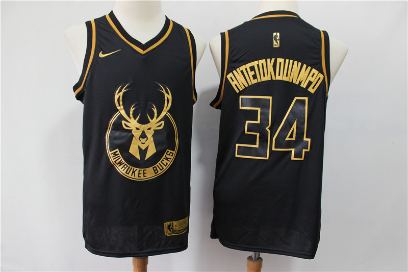 Bucks 34 Giannis Antetokounmpo Black Gold Nike Swingman Jersey