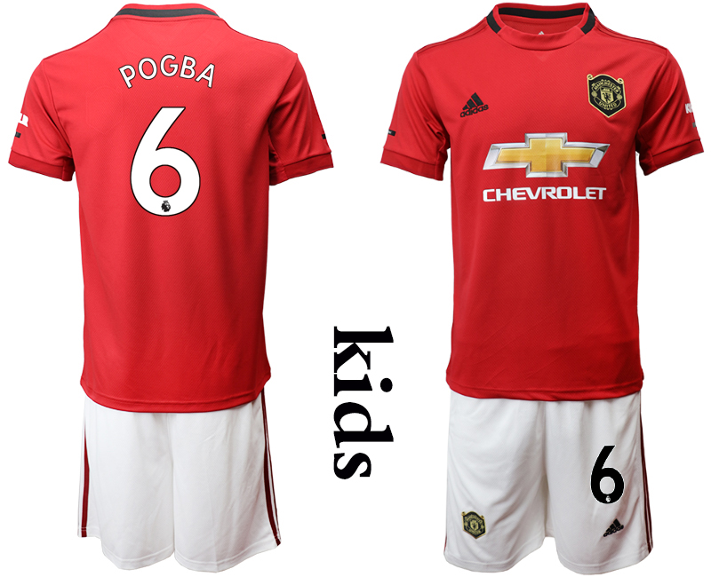 2019-20 Manchester 6 POGBA United Youth Home Soccer Jersey