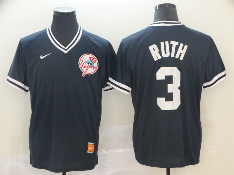 Yankees 3 Babe Ruth Black Throwback Jersey