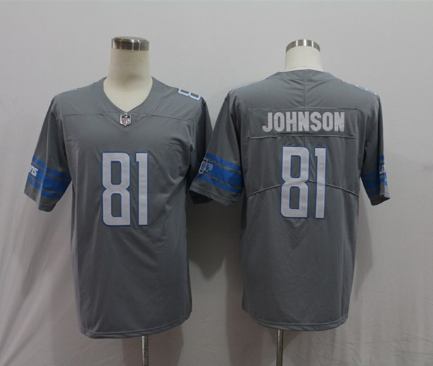 Nike Lions 81 Calvin Johnson Gray Color Rush Limited Jersey
