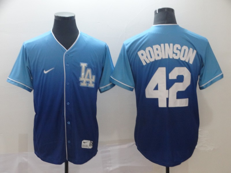 Dodgers 42 Jackie Robinson Blue Drift Fashion Jersey