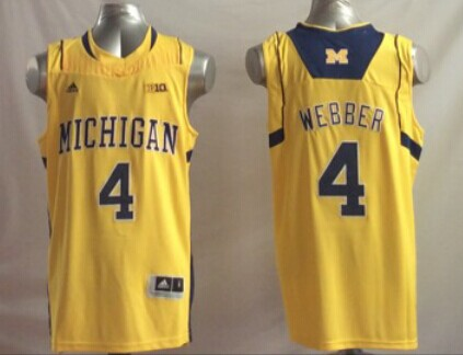 Michigan Wolverines 4 Chris Webber Yellow College Basketball Jersey