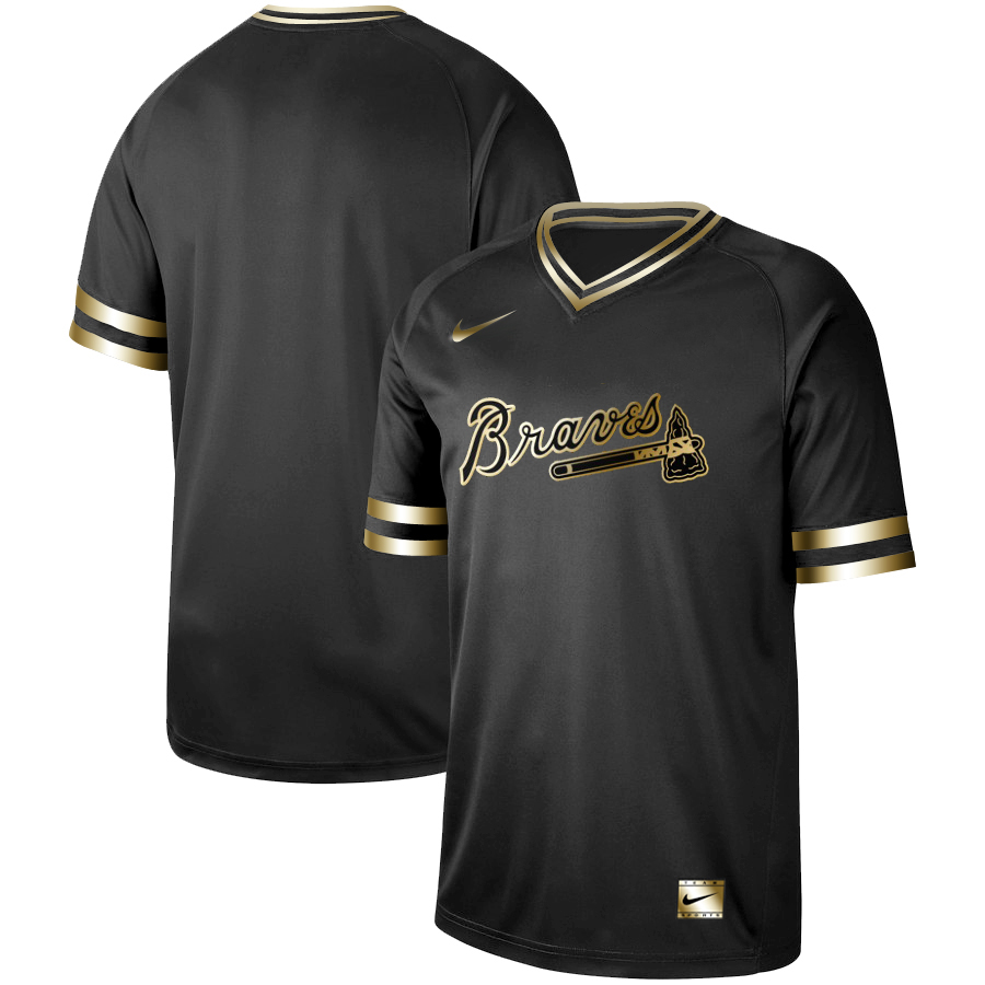 Braves Blank Black Gold Nike Cooperstown Collection Legend V Neck Jersey