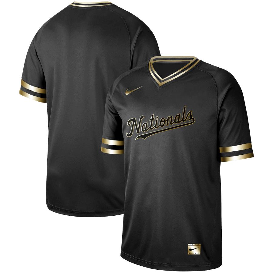 Nationals Blank Black Gold Nike Cooperstown Collection Legend V Neck Jersey