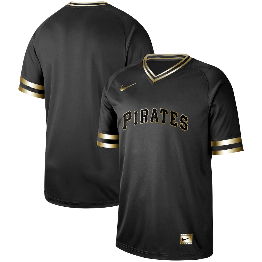 Pirates Blank Black Gold Nike Cooperstown Collection Legend V Neck Jersey