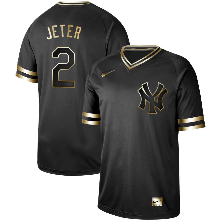Yankees 2 Derek Jeter Black Gold Nike Cooperstown Collection Legend V Neck Jersey