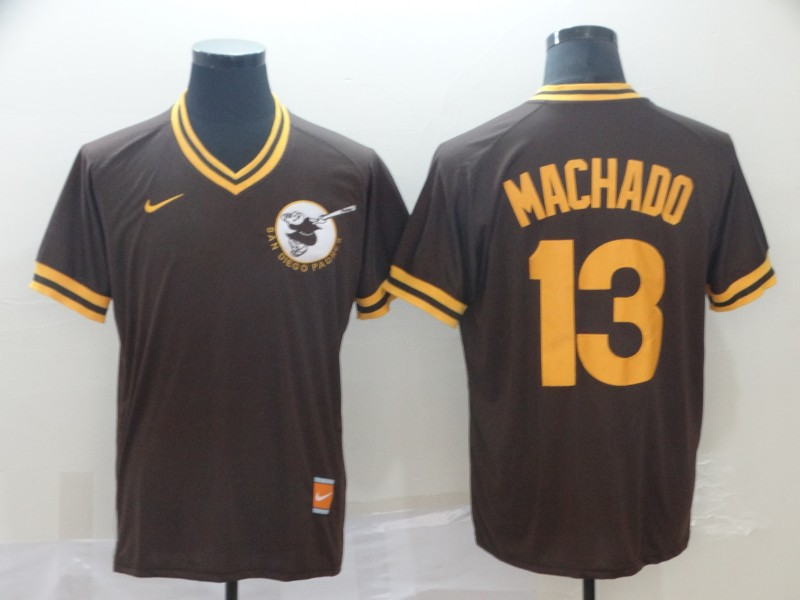 Padres 13 Manny Machado Brown Throwback Jersey