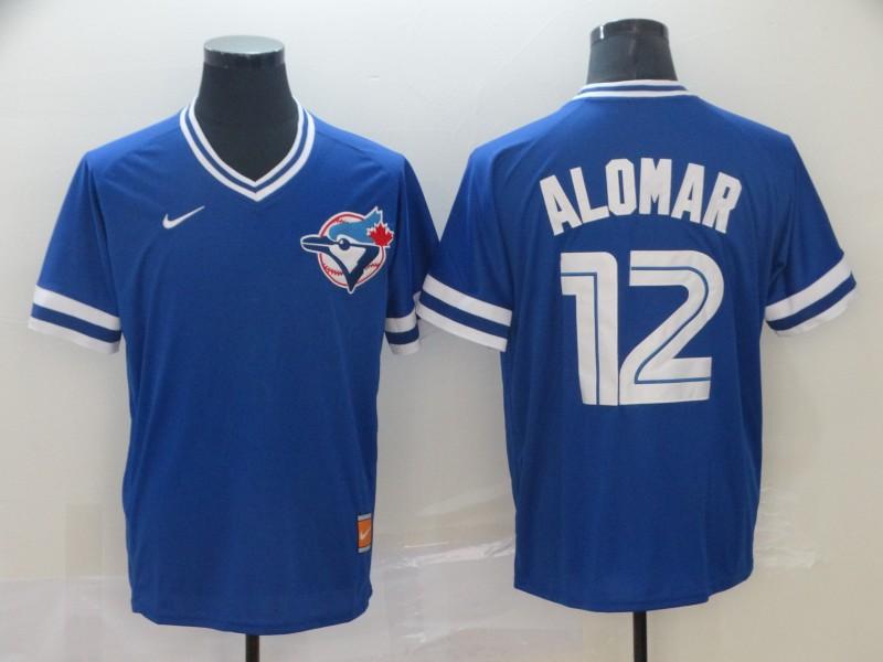 Blue Jays 12 Roberto Alomar Royal Throwback Jersey