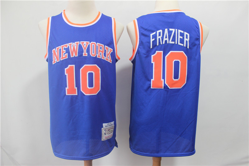 Knicks 10 Walt Frazier Blue 1972-73 Hardwood Classics Jersey
