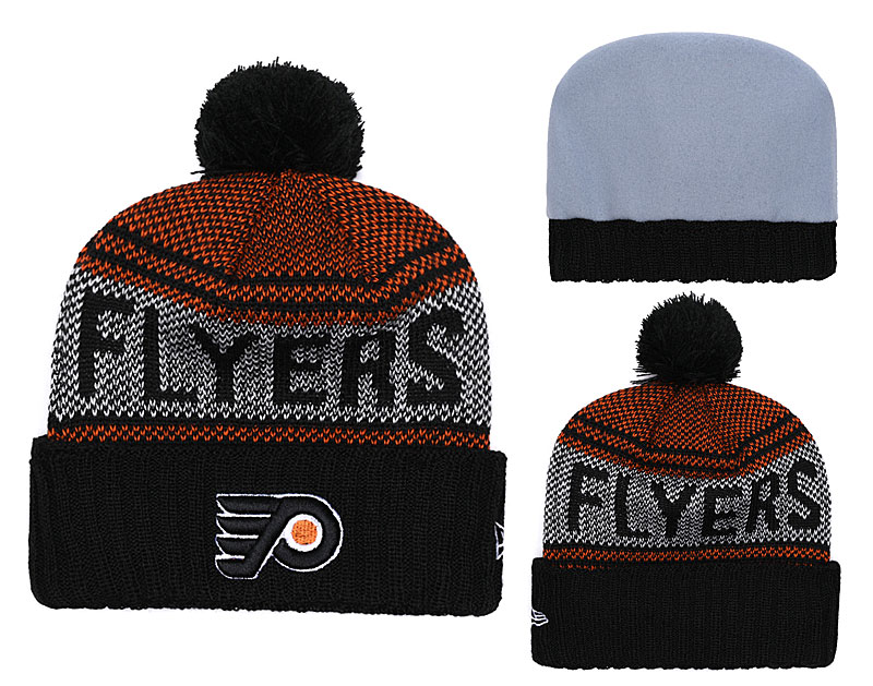 Flyers Fresh Logo Black Pom Knit Hat YD