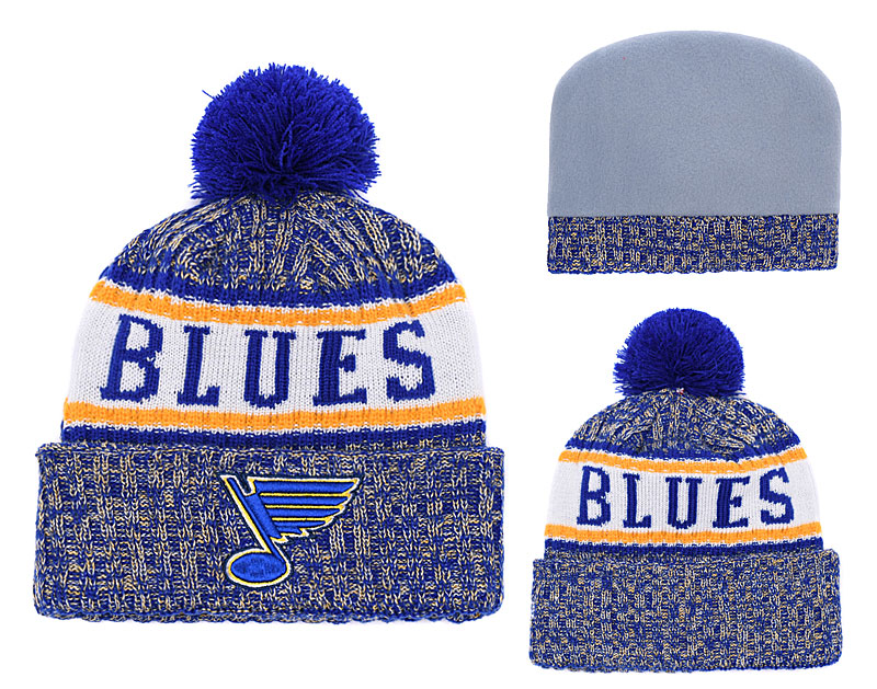 St. Louis Blues Fresh Logo Blue Pom Knit Hat YD