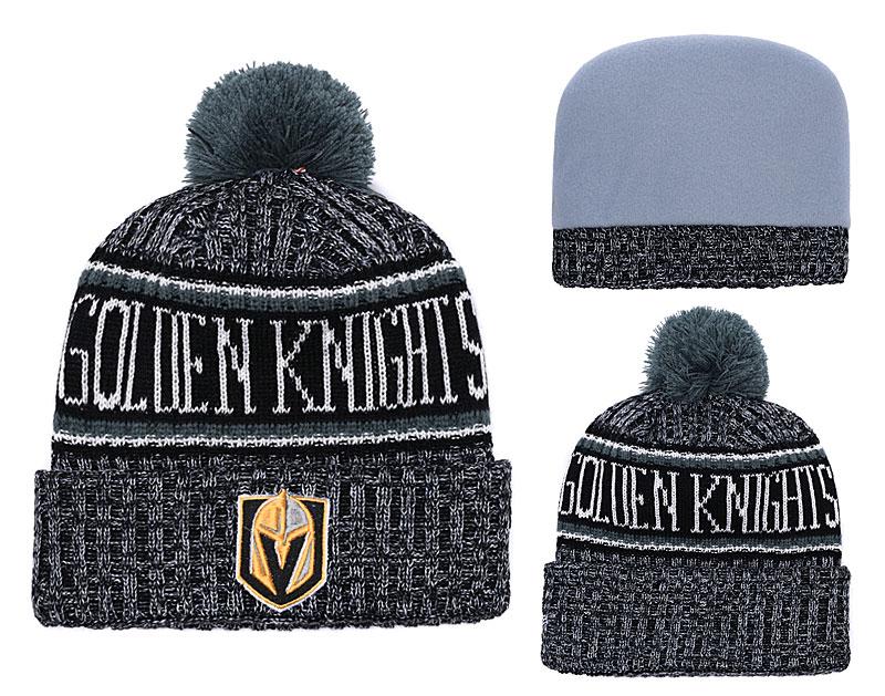 Vegas Golden Knights Fresh Logo Black Pom Knit Hat YD