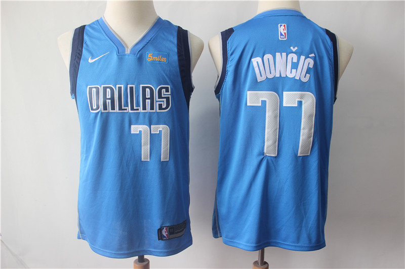 Mavericks 77 Luka Doncic Royal Youth Nike Swingman Jersey