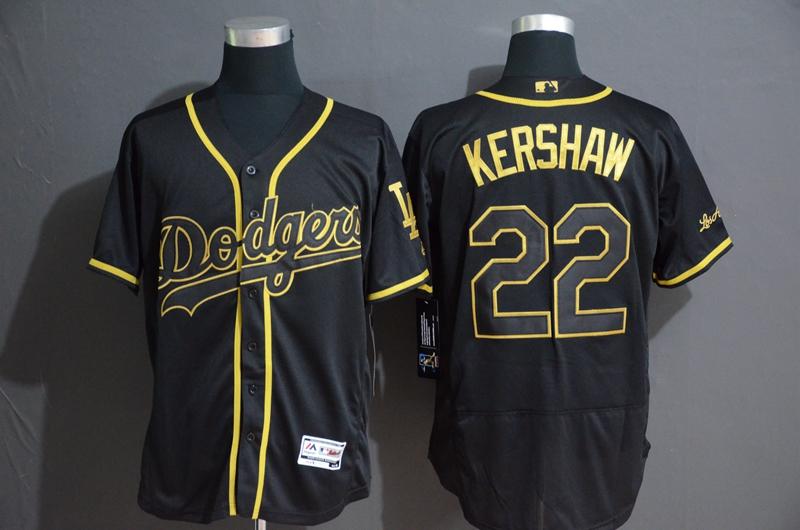 Dodgers 22 Clayton Kershaw Black Gold Flexbase Jersey