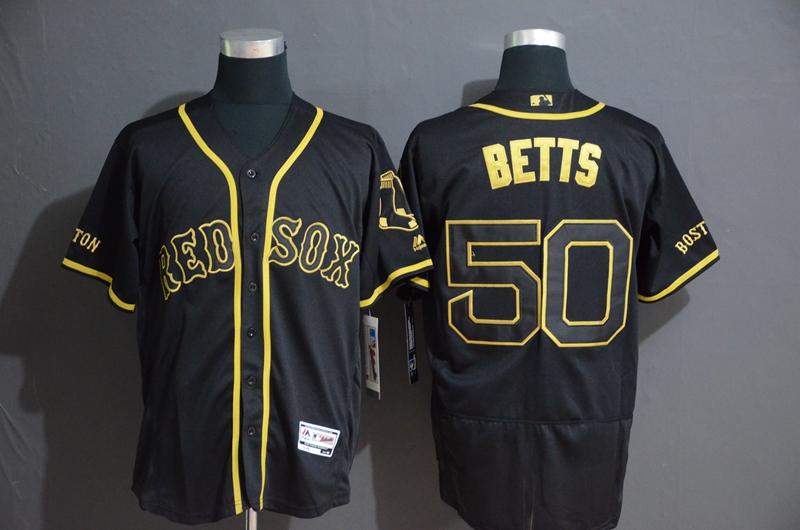 Red Sox 50 Mookie Betts Black Gold Flexbase Jersey