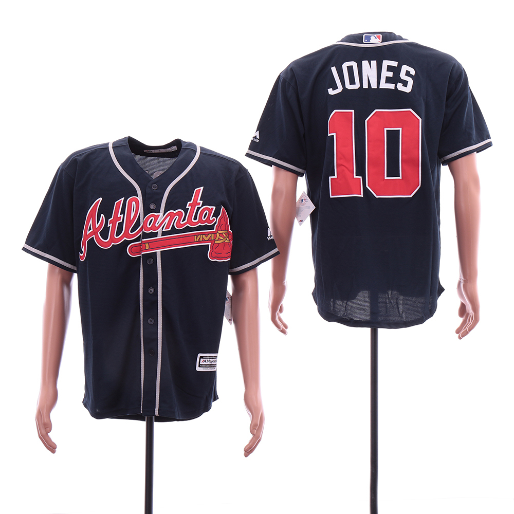 Braves 10 Chipper Jones Navy Cool Base Jersey