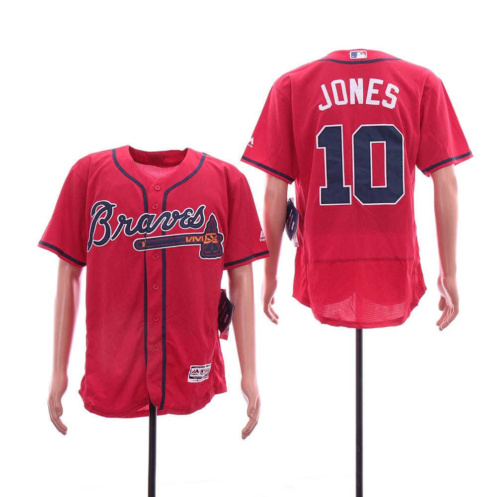Braves 10 Chipper Jones Red Flexbase Jersey