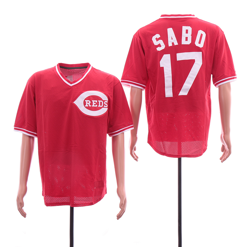 Reds 17 Chris Sabo Red Throwback BP Mesh Jersey