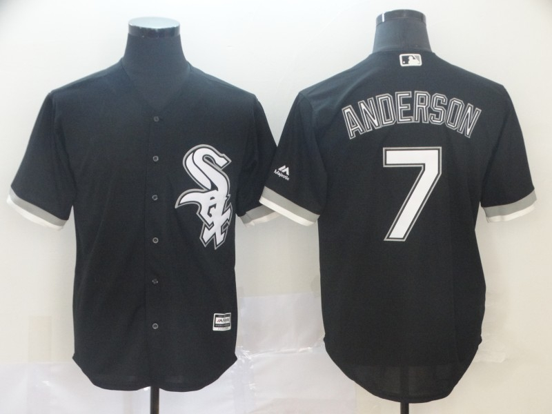 White Sox 7 Tim Anderson Black Cool Base Jersey