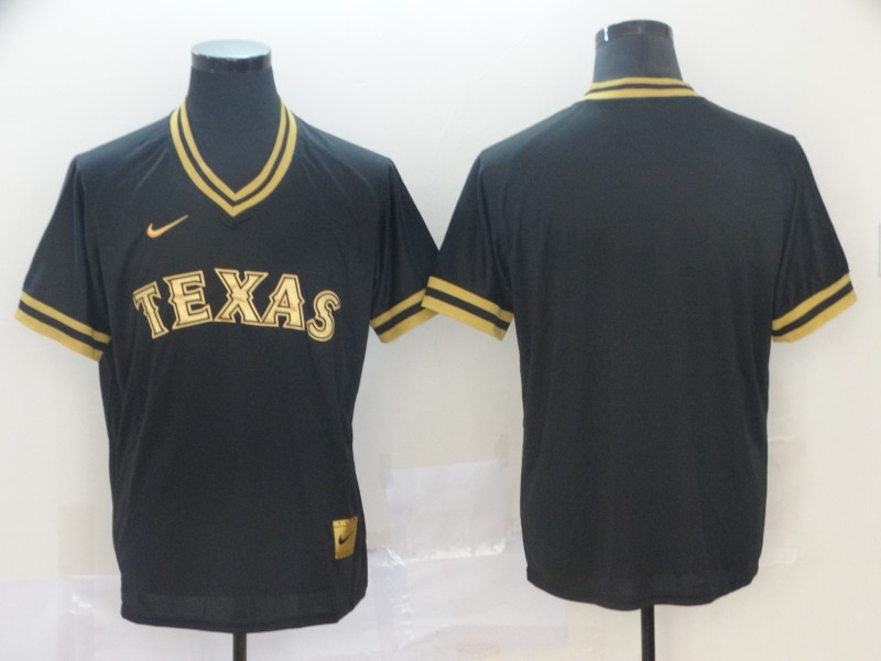 Rangers Blank Black Gold Nike Cooperstown Collection Legend V Neck Jersey