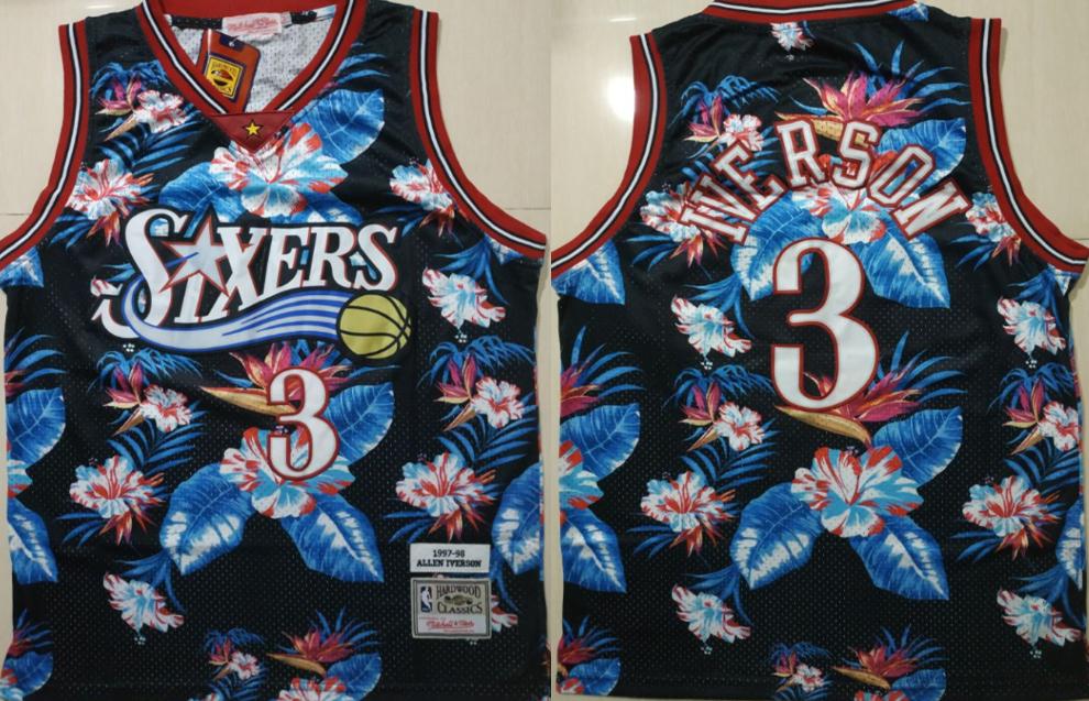 76ers 3 Allen Iverson Black 1997-98 Hardwood Classics Floral Fashion Swingman Jersey