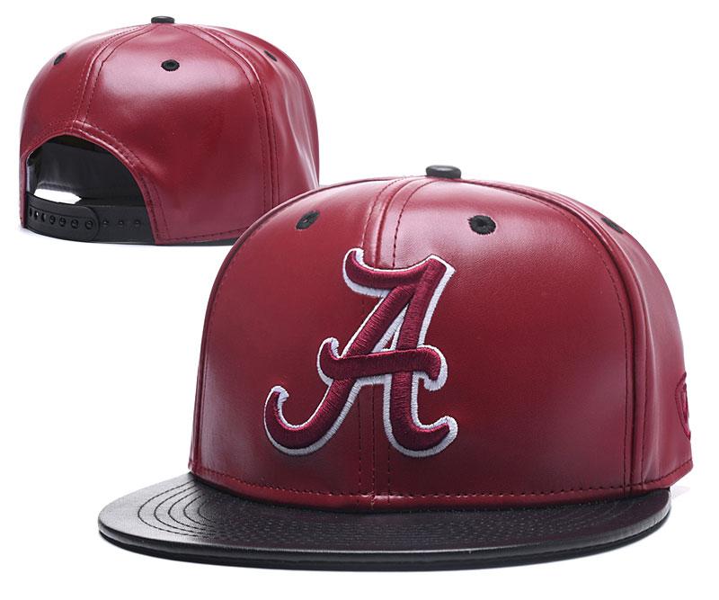 Alabama Crimson Tide Team Logo Burgundy Black Leather Adjustable Hat GS