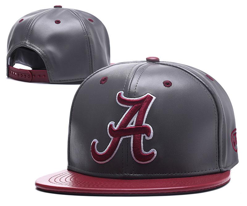 Alabama Crimson Tide Team Logo Gray Burgundy Leather Adjustable Hat GS