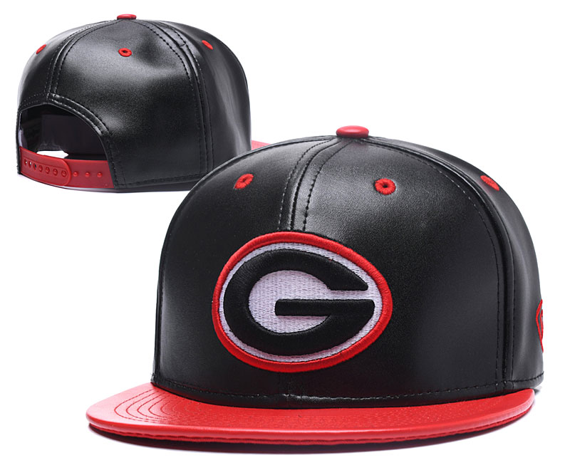 Georgia Bulldogs Team Logo Black Red Leather Adjustable Hat GS