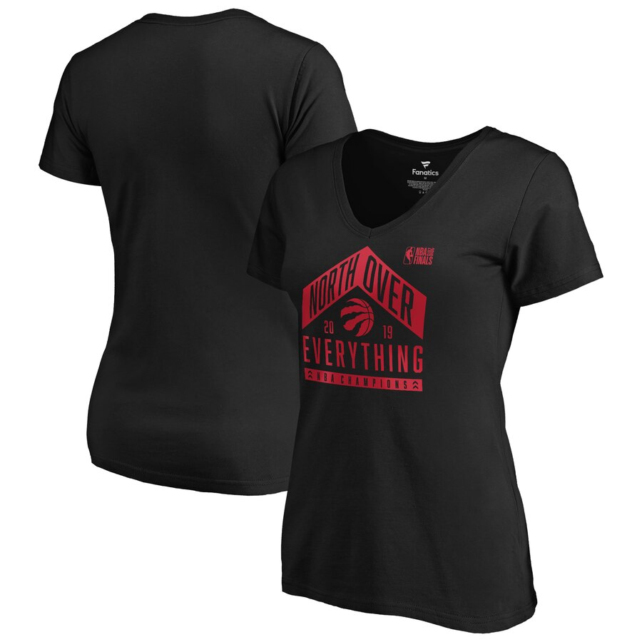 Toronto Raptors Fanatics Branded Women's 2019 NBA Finals Champions Tech V Neck T-Shirt Black