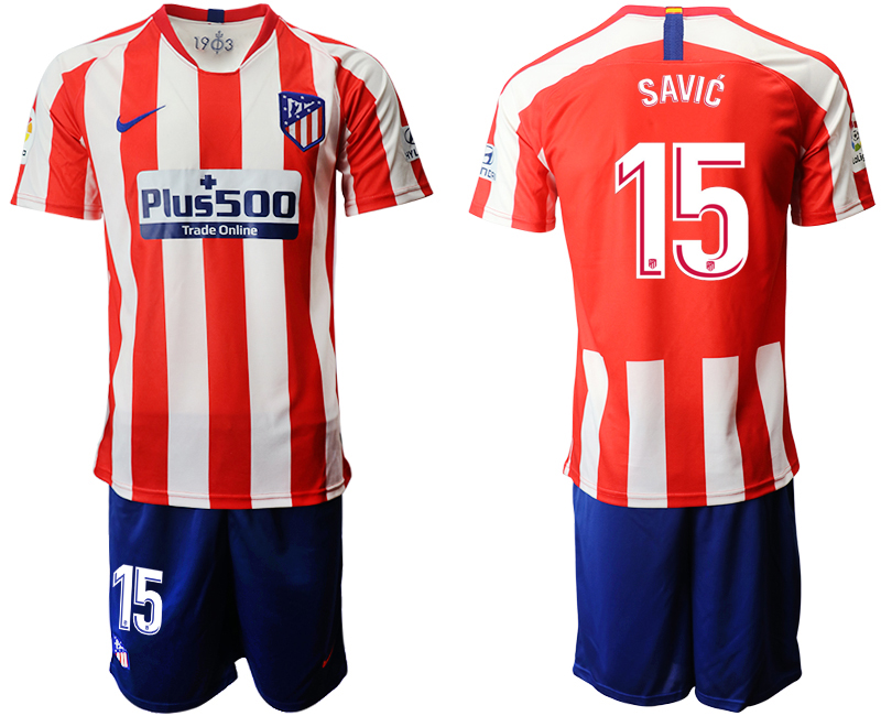2019-20 Atletico Madrid 15 SAVIC Home Soccer Jersey