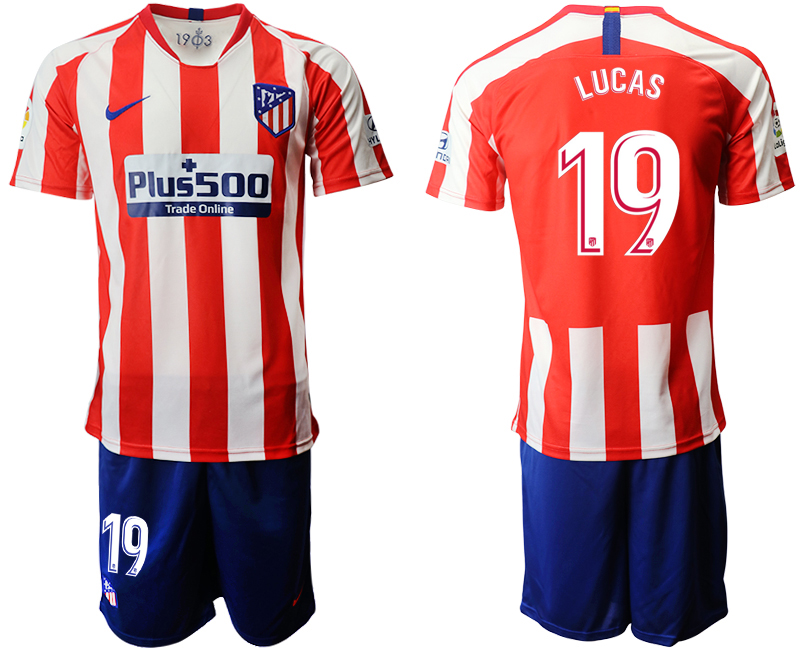 2019-20 Atletico Madrid 19 LUCAS Home Soccer Jersey