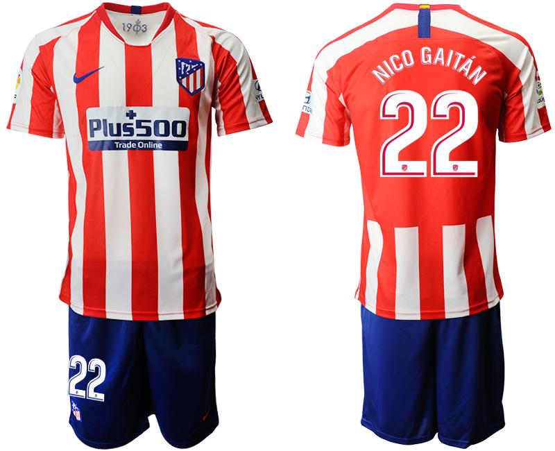 2019-20 Atletico Madrid 22 NICO GAITAN Home Soccer Jersey