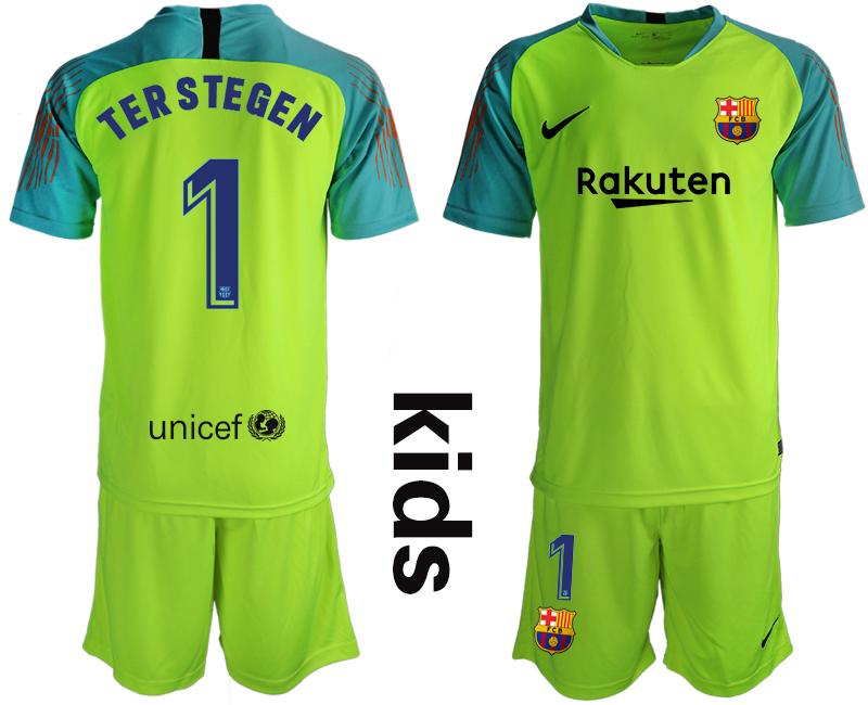 2019-20 Barcelona 1 TERSTEGEN Fluorescent Green Youth Goalkeepe Soccer Jersey