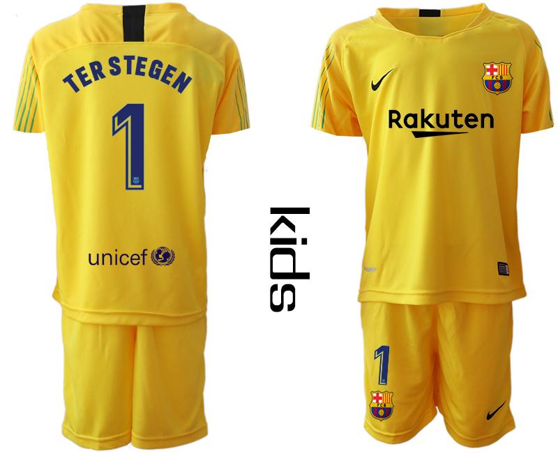 2019-20 Barcelona 1 TERSTEGEN Yellow Youth Goalkeepe Soccer Jersey