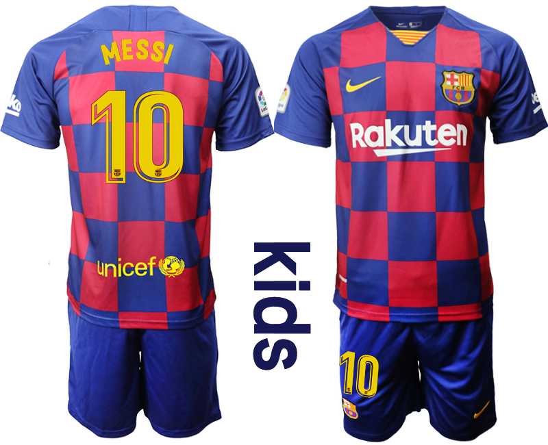 2019-20 Barcelona 10 MESSI Youth Home Soccer Jersey