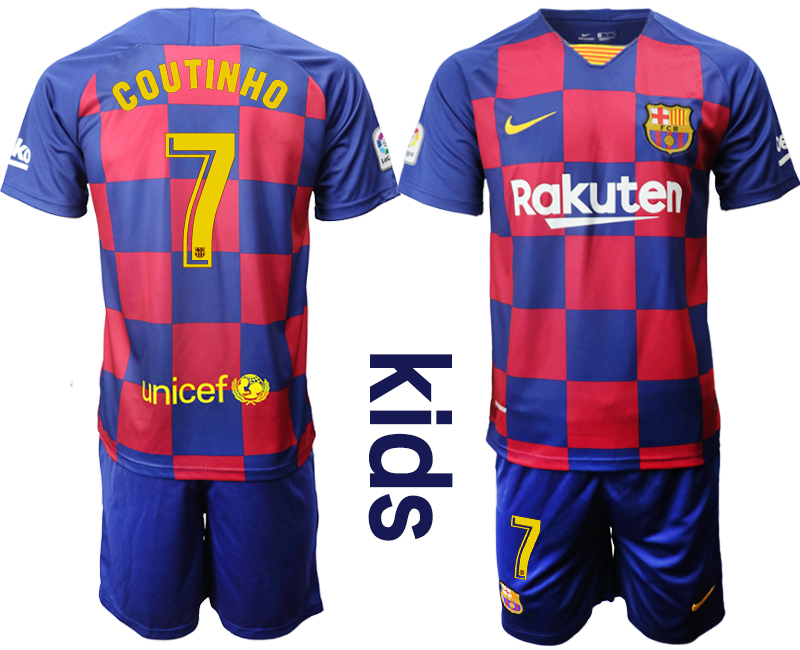 2019-20 Barcelona 7 COUTINHO Youth Home Soccer Jersey