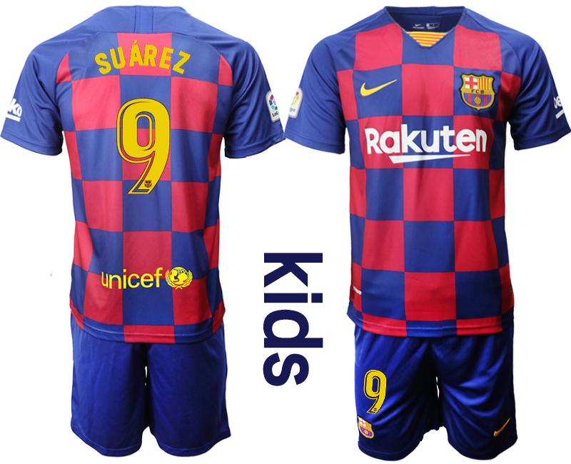 2019-20 Barcelona 9 SUAREZ Youth Home Soccer Jersey