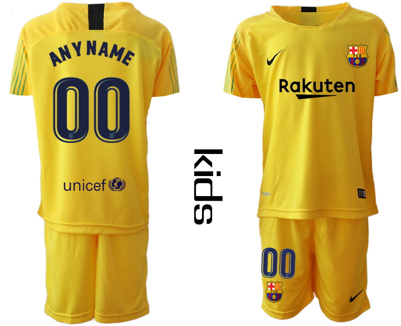 2019-20 Barcelona Customized Yellow Youth Goalkeepe Soccer Jersey