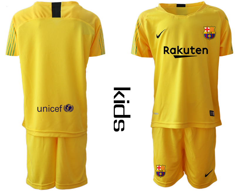 2019-20 Barcelona Yellow Youth Goalkeepe Soccer Jersey