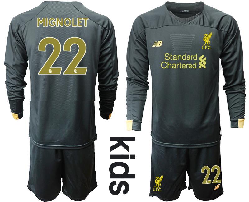 2019-20 Liverpool 22 MIGNOLET Black Long Sleeve Goalkeeper Youth Soccer Jersey