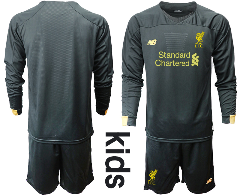 2019-20 Liverpool Black Long Sleeve Goalkeeper Youth Soccer Jersey